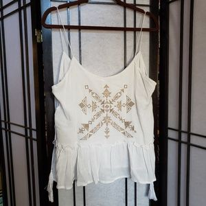 White embroidered tank.